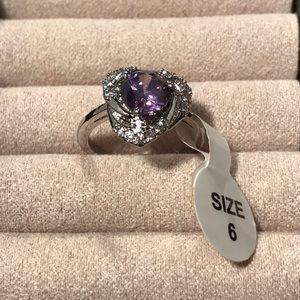 Amethyst Silvertone Ring Size 6
